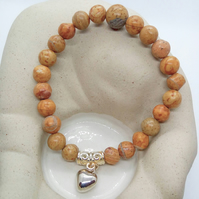 Wood Jasper Beaded Stretch Bracelet With A Silver Plated Heart Charm