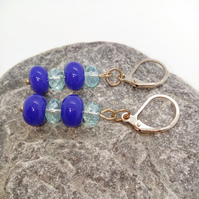 Ladies Cobalt Blue & Pale Blue Crystal Earrings for Pierced Ears, Blue Earrings