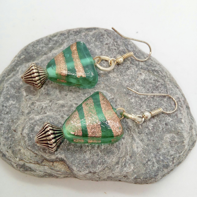 Chunky Green Triangular Bead Earrings For Pierced Ears, Mothers Day Gift
