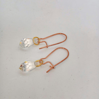 Clear Crystal Drop Bead Earrings with Rose Gold Plated Wires,