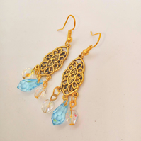 Gold Chandelier Earrings with Blue and White Crystal Beads