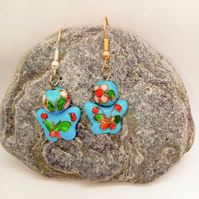 Pale Blue Butterfly Cloisonne Bead Earrings for Pierced Ears, Ladies Earrings