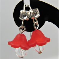 Lucite Flower with Crystal Drop Bead Earrings for Pierced Ears, Gift for Her