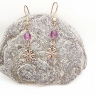 Silver Plated Flower Charm & Lilac Crystal Earrings for Pierced Ears