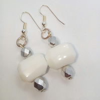 Hexagonal White Bead and Faceted Silver Bead Earrings for Pierced Ears