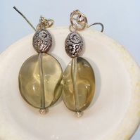 Smoky Oval Glass Bead Earrings With A Silver Plated Spacer Bead, Earrings