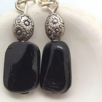 Black Ceramic Rectangle Bead Earrings With Silver Spacer Bead