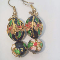 Black Cloisonne Earrings for Pierced Ears, Ladies Earrings, Valentines Day Gift