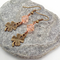 Bronze Plated 4 Leaf Clover Charm with Pink Crystal Earrings For Pierced Ears