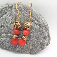 Red Pressed Coral and Gold Rose Bead Earrings for Pierced Ears