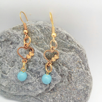 Gold Heart Earrings with a Blue Bead For Pierced Ears