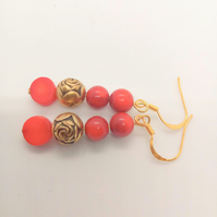 Gold Plated Rose Bead and Red Pressed Coral Bead Earrings for Pierced Ears