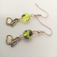 Green and Black Faceted Glass Bead with Silver Plated Apple Charm Earrings