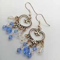 Earrings with Blue and White Crystal Beads on a Silver Chandelier Base