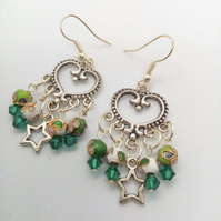 Green and White Cloisonné Bead Crystal and Star Chandelier Earrings