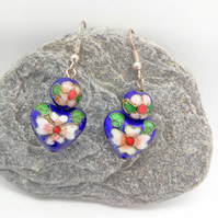 Ladies Cobalt Blue Heart Shaped Cloisonne Earrings for Pierced Ears