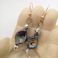 Silver Plated Earrings with Black Iridescent Twist Bead and Silver Faceted Bead