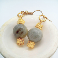 Earrings Made with Round Grey Agate Bead and Gold Plated Spacer for Pierced Ears