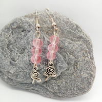 Earrings for Pierced Ears with Pink Beads and Silver Plate Rose Charms