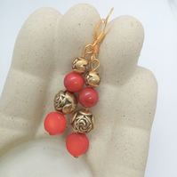 Gold Rose Bead and Red Pressed Coral Bead Earrings for Pierced Ears