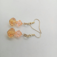 Yellow Crystal Rondelle and Pink Crystal Bicone Bead Earrings For Pierced Ears