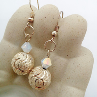 Silver Patterned Bead and Opaque Crystal Bead Earrings for Pierced Ears