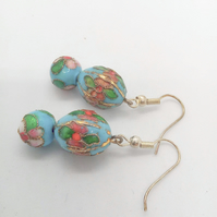 Pale Blue Floral Cloisonne Earrings for Pierced Ears, Ladies Earrings