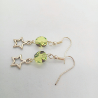 Silver Plated Star with Green and Black Crystal Bead Earrings For Pierced Ears