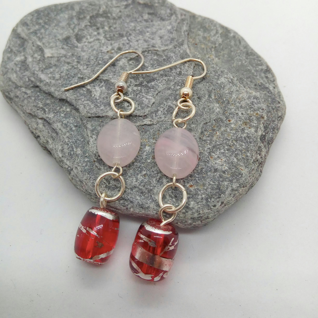 Red Glass Bead & Pink Opaline Oval beads Earrings for Pierced Ears