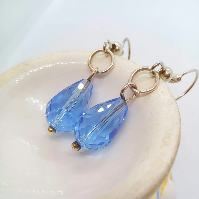 Blue or Clear Crystal Bead Earrings for Pierced Ears, Birthday Gift