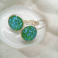 Choice of Blue or Green Faux Druzy Lever Back Earrings For Pierced Ears