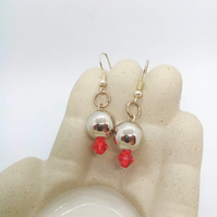 Earrings With a Silver Bead and a Crystal Bead for Pierced Ears