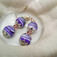 Purple Agate Bead and a Single Lilac Crystal Bead Earrings for Pierced Ears
