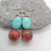 Mahogany Jasper and Turquoise Beaded Earrings For Pierced Ears