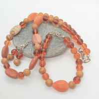 Jasper, Goldstone, Wood Jasper and Glass Beads 3 Piece Jewellery Set