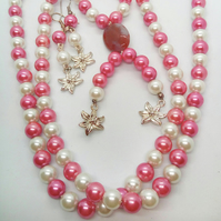 SALE - Necklace and Earrings Set Made Using Cream and Pink Pearls