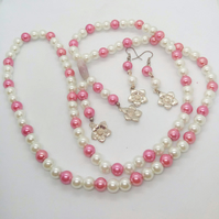 SALE - Pink and Cream Pearl Long Necklace and Earrings Jewellery Set