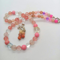 Jasper Rose Quartz and and Glass Beads 2 Piece Jewellery Set