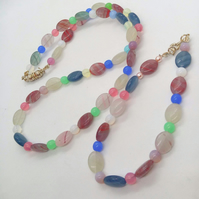 Beaded Necklace & Bracelet Set Made With Oval Opaline Beads