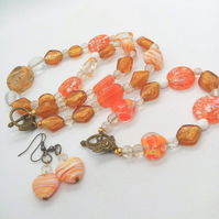 SALE - Orange and Topaz Beaded Jewellery Set, Orange Heart Matching Set