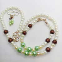 Green Brown & White Pearl Jewellery Set, Christmas Gift for Her
