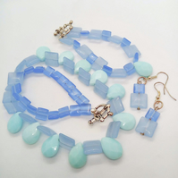 Ice Blue Teardrop And Square Bead Jewellery Set, Christmas Gift for Her