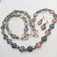 Jewellery Set With Jasper Hearts & Haematite Beads, Jewellery Gift for Her