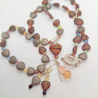 3 Piece Jewellery Set Made With Jasper Heart and Crystal Beads, Birthday Gift