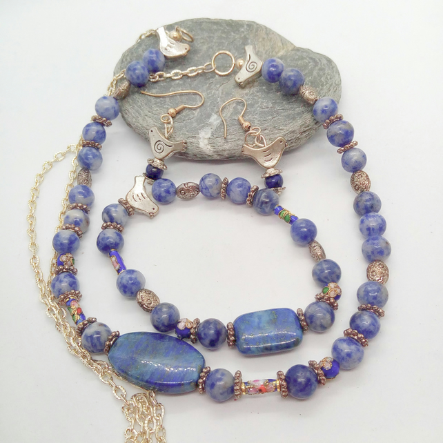 Lapis Lazuli and Silver Bird Bead Jewellery Set, Jewellery Gift for Her