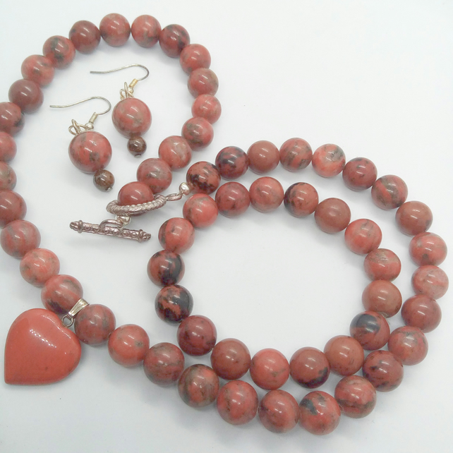 Red Jasper and Mahogany Jasper 3 Piece Jewellery Set, Semi Precious Jewellery