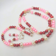 Pink Burgundy and Cream Pearl Jewellery Set, Christmas Gift for Her