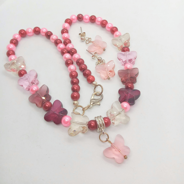 Burgundy and Pink Pearl and Butterfly Jewellery Set, Christmas Gift for Her