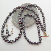 Steel Grey Haematite Beaded 3 Piece Jewellery Set, Jewellery Gift for Her