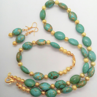 Turquoise Oval Bead and Gold Stardust Beaded Jewellery Set